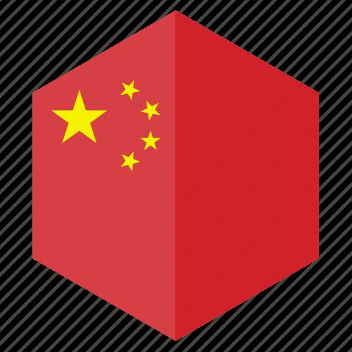 asia, china, country, design, flag, hexagon icon