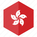 asia, country, design, flag, hexagon, hong kong icon