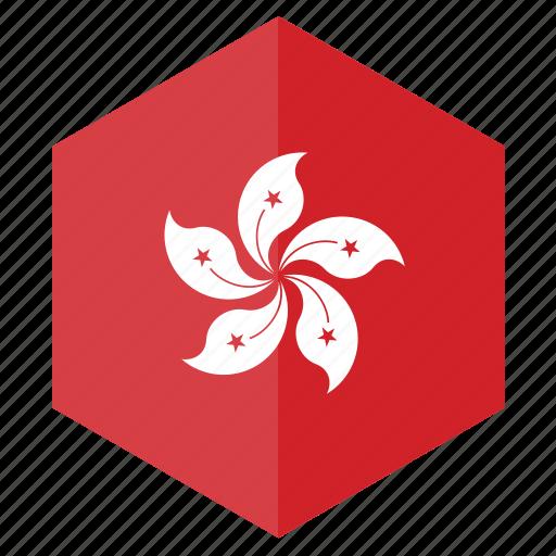 asia, country, design, flag, hexagon, hong kong icon