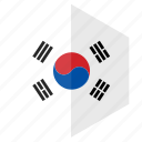 asia, country, design, flag, hexagon, south korea icon