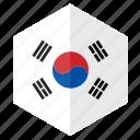asia, country, design, flag, hexagon, south korea