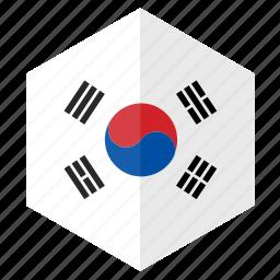 asia, country, design, flag, hexagon, south korea icon