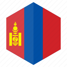 asia, country, design, flag, hexagon, mongolia icon