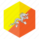 asia, bhutan, country, design, flag, hexagon icon
