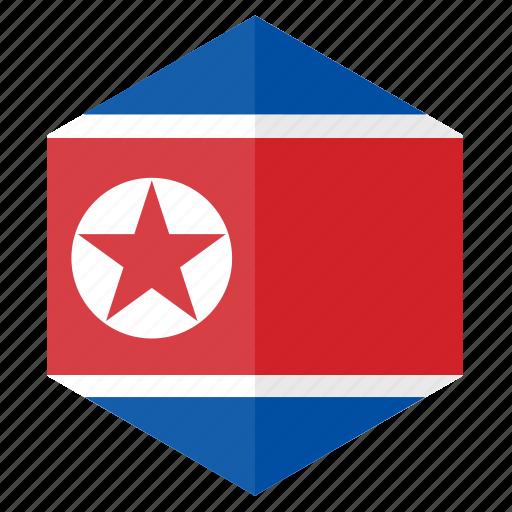 asia, country, design, flag, hexagon, north korea icon