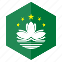 asia, country, design, flag, hexagon, macao icon