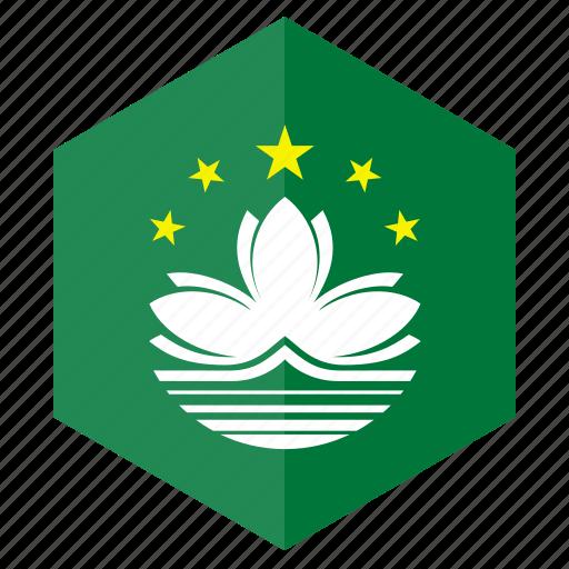 asia, country, design, flag, hexagon, macao icon