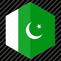 asia, country, design, flag, hexagon, pakistan icon