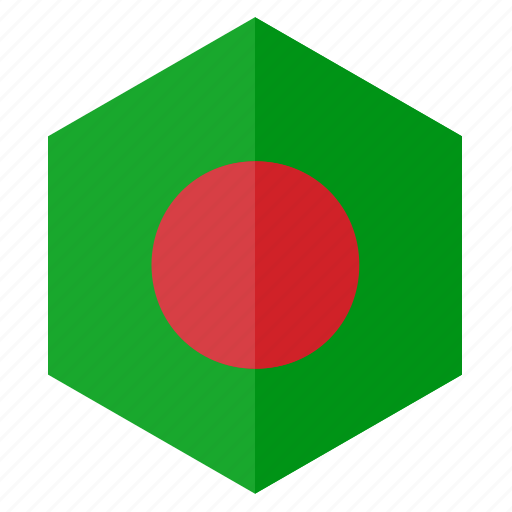 asia, bangladesh, country, design, flag, hexagon icon