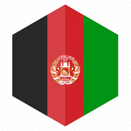 afghanistan, asia, country, design, flag, hexagon icon