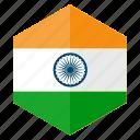 asia, country, design, flag, hexagon, india