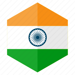 asia, country, design, flag, hexagon, india icon