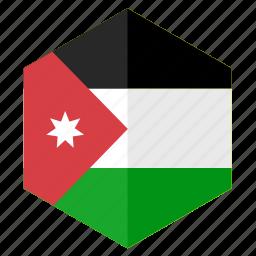 asia, country, design, flag, hexagon, jordan icon