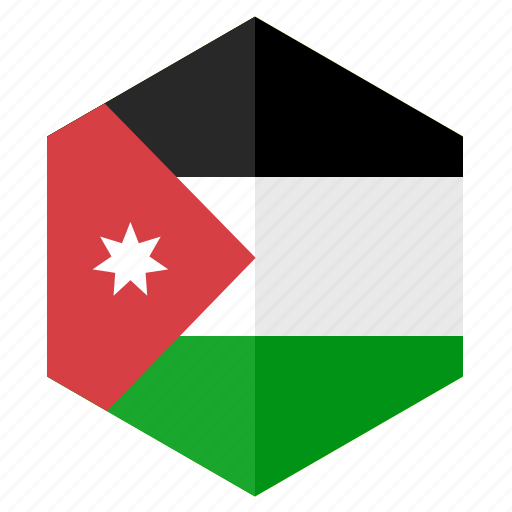 asia, country, design, flag, hexagon, jordan icon