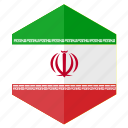 asia, country, design, flag, hexagon, iran icon
