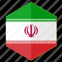 asia, country, design, flag, hexagon, iran