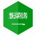 asia, country, design, flag, hexagon, saudi arabia icon