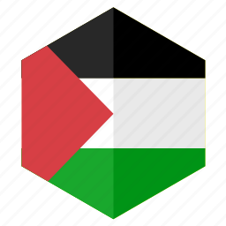 asia, country, design, flag, hexagon, palestine icon