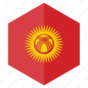 asia, country, design, flag, hexagon, kyrgyzstan icon