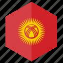 asia, country, design, flag, hexagon, kyrgyzstan