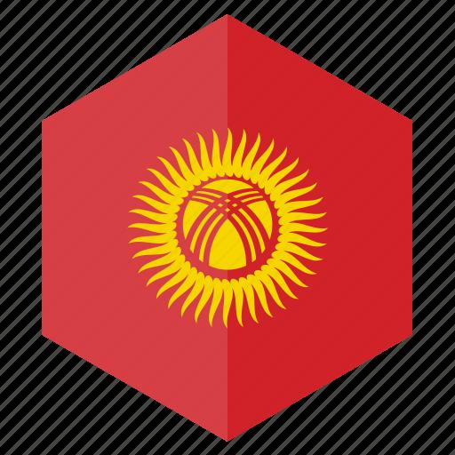 asia, country, design, flag, hexagon, kyrgyzstan icon