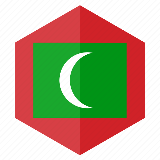 asia, country, design, flag, hexagon, maldives icon