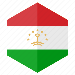 asia, country, design, flag, hexagon, tajikistan icon