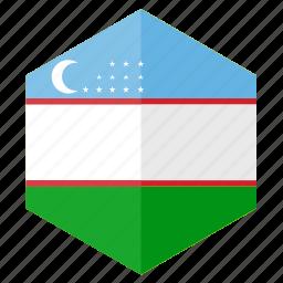 asia, country, design, flag, hexagon, uzbekistan icon