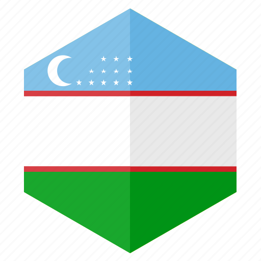 asia, country, design, flag, hexagon, uzbekistan icon
