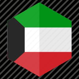 asia, country, design, flag, hexagon, kuwait icon