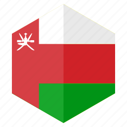 asia, country, design, flag, hexagon, oman icon