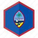 asia, country, design, flag, guam, hexagon icon