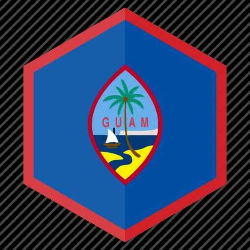 asia, country, design, flag, guam, hexagon icon