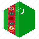 asia, country, design, flag, hexagon, turkmenistan icon
