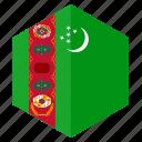 asia, country, design, flag, hexagon, turkmenistan