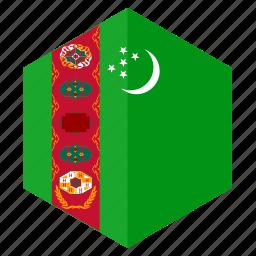 asia, country, design, flag, hexagon, turkmenistan icon