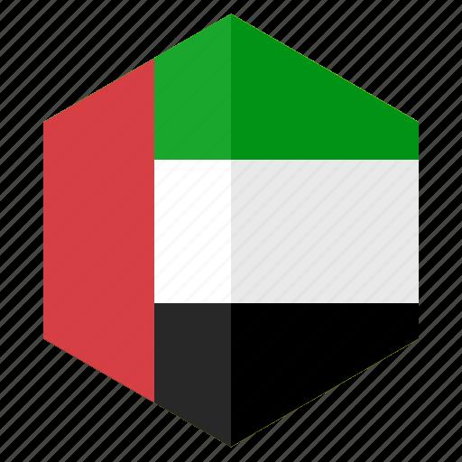 asia, country, design, flag, hexagon, united arab emirates icon