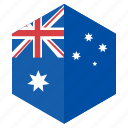 asia, australia, country, design, flag, hexagon icon