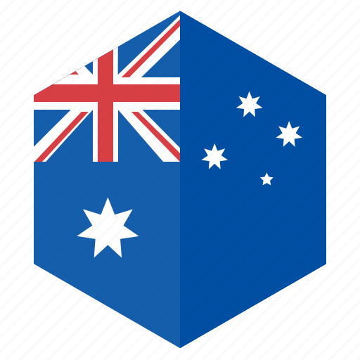 asia, australia, country, design, flag, hexagon icon