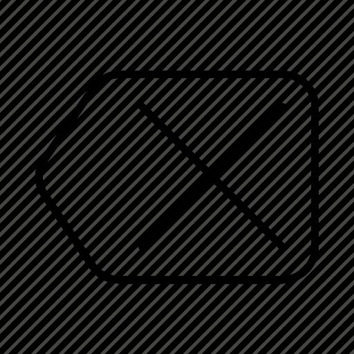 back, cancel, delete, eraser, excuse, previous, remove icon