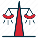 balance, court, government, judicial, law, power, scales icon
