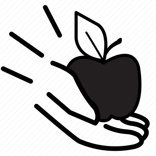 apple, fruit, give, giving, government, hand, teach icon
