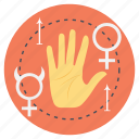 determining the future, hand reading, knowledge, palm reading, reading lines icon