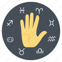 astronomy, interpreting signs, reading palms, reading signs, zodiac signs icon