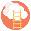 astronomy, climbing ladders, ladder to clouds, leading way, way to sky icon