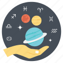 astrology planets, observing astronomical effects, observing planets, studying astrology, studying effects icon