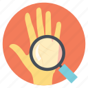 looking for future, palmistry, predicting future, reading hand lines, reading lines icon