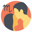 horoscope, romance of virgo, romantic virgo, virgo kissing, virgo zodiac sign icon