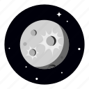 full moon, mercury, moon, planet icon