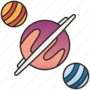 galaxy, moon, orbited, planet, universe icon